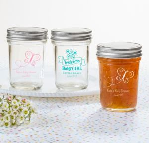 Personalized Baby Shower Mason Jars with Solid Lids (Printed Glass) (Pink, Welcome Girl)