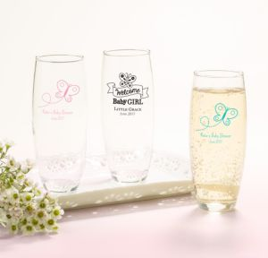 Personalized Baby Shower Stemless Champagne Flutes (Printed Glass) (Welcome Girl)