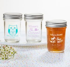 Personalized Baby Shower Mason Jars with Solid Lids (Printed Glass) (Robin's Egg Blue, Woodland)