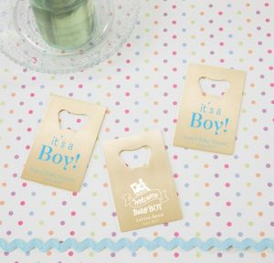 Personalized Baby Shower Credit Card Bottle Openers - Gold (Printed Metal) (Sky Blue, Welcome Boy)