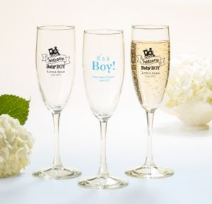 Personalized Baby Shower Champagne Flutes (Printed Glass) (Sky Blue, Welcome Boy)