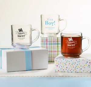 Personalized Baby Shower Glass Coffee Mugs (Printed Glass) (Sky Blue, Welcome Boy)