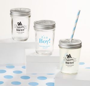 Personalized Baby Shower Mason Jars with Daisy Lids, Set of 12 (Printed Glass) (Sky Blue, Welcome Boy)