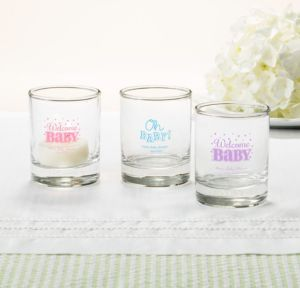 Personalized Baby Shower Shot Glasses (Printed Glass) (Sky Blue, Baby Brights)