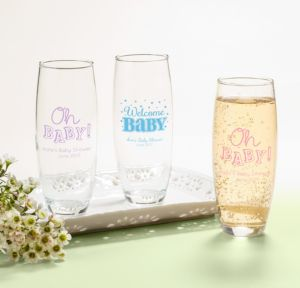 Personalized Baby Shower Stemless Champagne Flutes (Printed Glass) (Sky Blue, Baby Brights)