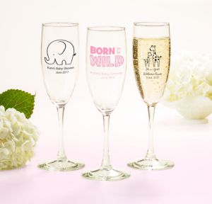 Personalized Baby Shower Champagne Flutes (Printed Glass) (White, Pink Safari)