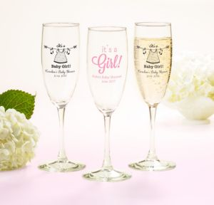 Personalized Baby Shower Champagne Flutes (Printed Glass) (White, Shower Love Girl)