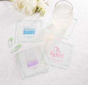 Personalized Baby Shower Glass Coasters, Set of 12 (Printed Glass) (White, Baby Brights)