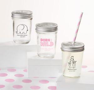 Personalized Baby Shower Mason Jars with Daisy Lids, Set of 12 (Printed Glass) (White, Pink Safari)
