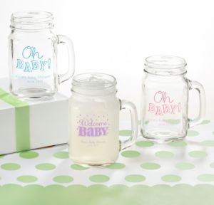 Personalized Baby Shower Mason Jar Mugs (Printed Glass) (White, Baby Brights)