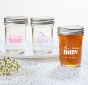 Personalized Baby Shower Mason Jars with Solid Lids (Printed Glass) (White, Baby Brights)