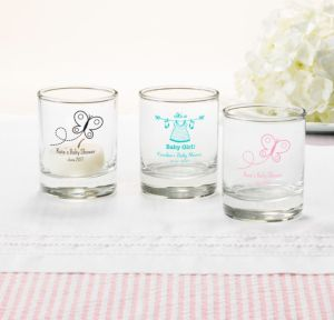 Personalized Baby Shower Shot Glasses (Printed Glass) (White, Welcome Girl)