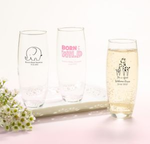 Personalized Baby Shower Stemless Champagne Flutes (Printed Glass) (White, Pink Safari)