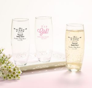 Personalized Baby Shower Stemless Champagne Flutes (Printed Glass) (White, Shower Love Girl)
