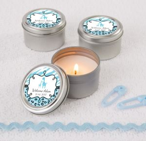 Personalized Baby Shower Wedding Candle Tins (Printed Label) (Blue Safari)