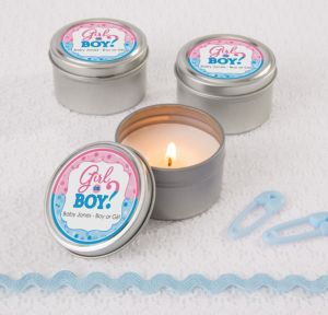 Personalized Baby Shower Wedding Candle Tins (Printed Label) (Gender Reveal)