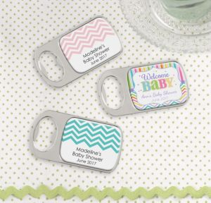 Personalized Baby Shower Bottle Openers - Silver (Printed Epoxy Label) (Baby Brights)