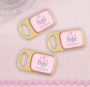 Personalized Baby Shower Bottle Openers - Gold (Printed Epoxy Label) (Gold, Welcome Girl)