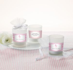 Personalized Baby Shower Glass Votive Candle Holders (Printed Label) (Celebrate Girl)