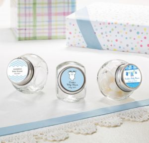 Personalized Baby Shower Small Glass Jars (Printed Label) (Shower Love Boy)