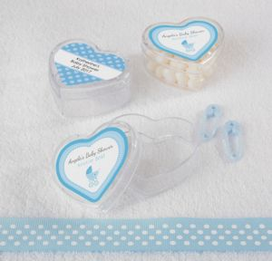 Personalized Baby Shower Heart-Shaped Plastic Favor Boxes, Set of 12 (Printed Label) (Celebrate Boy)