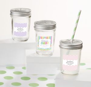 Personalized Baby Shower Mason Jars with Daisy Lids (Printed Label) (Baby Brights)