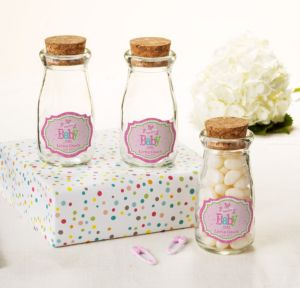 Personalized Baby Shower Glass Milk Bottles with Corks (Printed Label) (Welcome Girl)