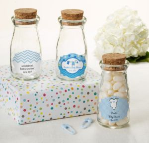 Personalized Baby Shower Glass Milk Bottles with Corks (Printed Label) (Shower Love Boy)