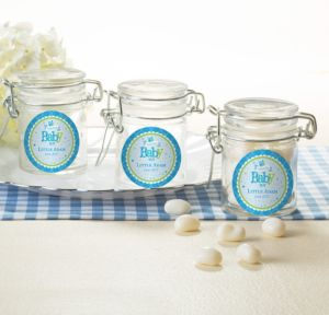 Personalized Baby Shower Glass Candy Jars (Printed Label) (Welcome Boy)