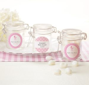 Personalized Baby Shower Glass Candy Jars (Printed Label) (Celebrate Girl)
