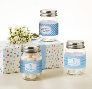 Personalized Baby Shower Mini Glass Mason Jars (Printed Label) (Celebrate Boy)