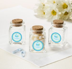 Personalized Baby Shower Small Glass Bottles with Corks (Printed Label) (Welcome Boy)