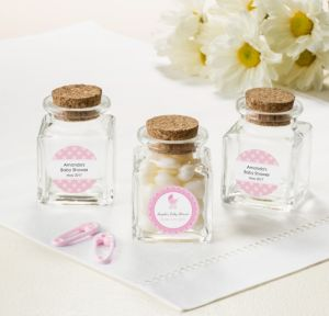 Personalized Baby Shower Small Glass Bottles with Corks (Printed Label) (Celebrate Girl)