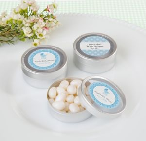 Personalized Baby Shower Round Candy Tins - Silver, Set of 12 (Printed Label) (Celebrate Boy)