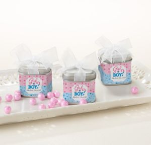 Personalized Baby Shower Wedding Favor Tins with Bows, Set of 12 (Printed Label) (Gender Reveal)