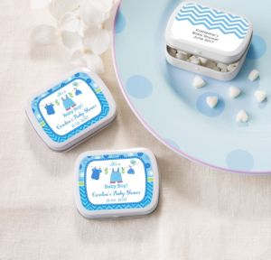 Personalized Baby Shower Mint Tins with Candy (Printed Label) (White, Shower Love Boy)