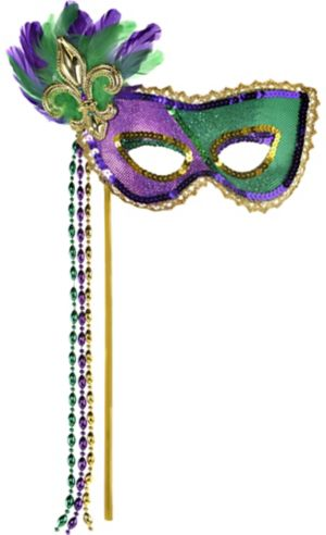 Sequin Mardi Gras Masquerade Mask on a Stick