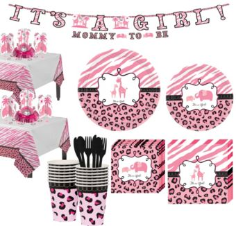 Baby Pink Safari Tableware Kit 18 Guests