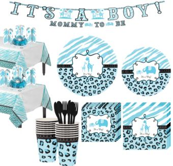 Blue Safari Boy Baby Shower Tableware Kit 36 guests