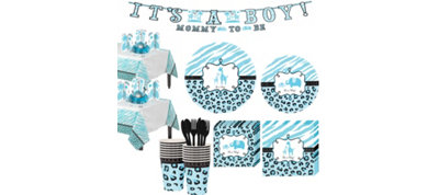 Blue Safari Boy Baby Shower Tableware Kit 36 guests