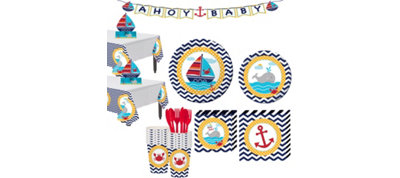 Ahoy Nautical Baby Shower Tableware Kit 32 Guests