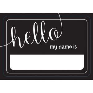 Black & White Hello Name Tags 100ct