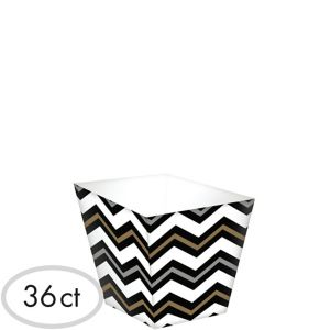 Mini Black, Gold & Silver Chevron Cubed Bowls 36ct
