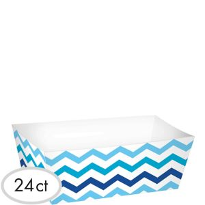 Blue Chevron Paper Food Trays 24ct