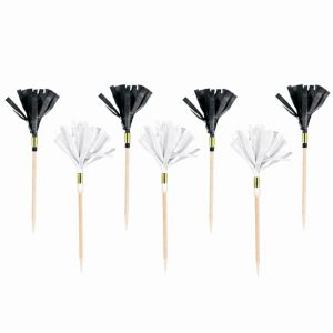 Black & White Fringe Party Picks 24ct
