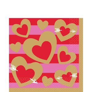 Heart of Gold Valentine's Day Lunch Napkins 16ct