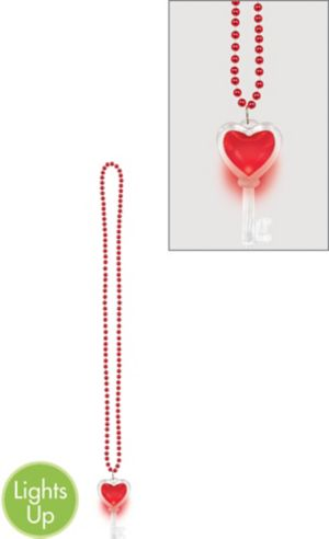 Light-Up Heart Key Pendant Bead Necklace