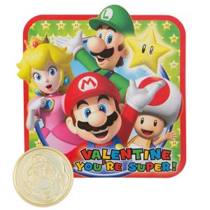 Super Mario Valentine Exchange Cards with Coins 12ct