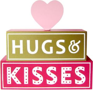 Hugs & Kisses Valentine's Day Block Sign