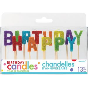 Glitter Rainbow Happy Birthday Toothpick Candle Set 13pc